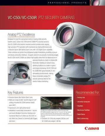 VC-C50i/VC-C50iR PTZ SECURITY CAMERAS - Canon USA, Inc.