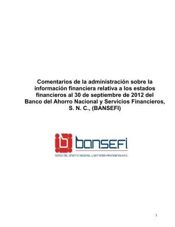 Comentarios de la administración sobre la información ... - Bansefi