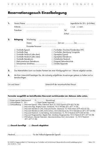 Reservationsformular Einzelbelegung - Volksschulgemeinde Egnach