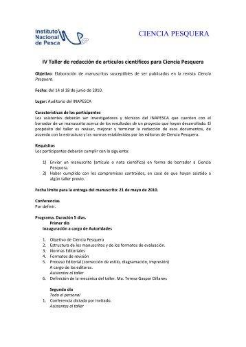 Convocatoria Taller Junio 2010.pdf - Inapesca