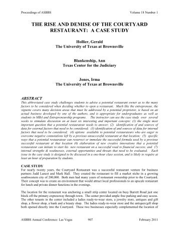 the rise and demise of the courtyard restaurant: a case ... - Asbbs.org