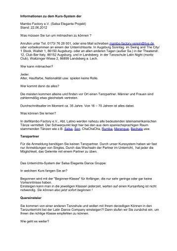 Informationen zu dem Kurs-System - Salsa Elegante Tanzschule