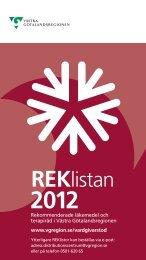 REKlistan 2012 - Vgregion.se - Västra Götalandsregionen