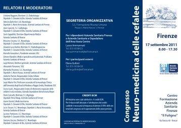 Brochure congresso cefalee.pdf - Azienda USL 3 Pistoia