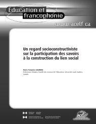 Un regard socioconstructiviste sur la participation des savoirs - acelf
