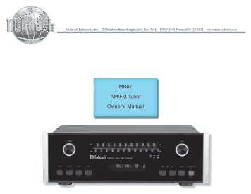 mr88 am fm xm hd tuner owner s manual mcintosh rh yumpu com mcintosh ma8000 owners manual mcintosh ma2275 owners manual