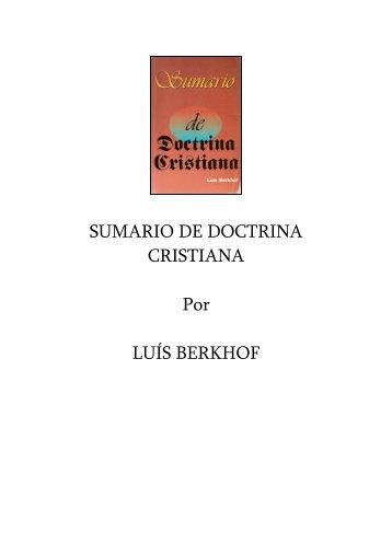 SUMARIO DE DOCTRINA CRISTIANA Por LUÍS BERKHOF