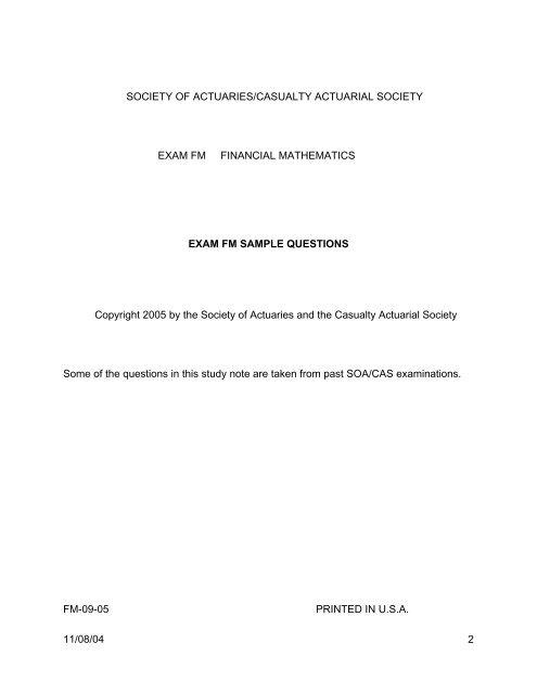 Soa/cas exam p sample questions.