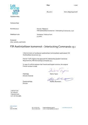FIR Asetinlaitteen komennot - Liikennevirasto