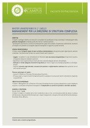 management per la direzione di struttura complessa - e-Campus