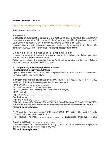 Příloha usnesení č. 103/3/11 - Tábor