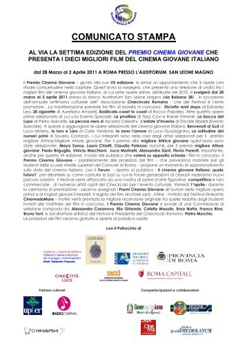 COMUNICATO PREMIO CINEMA GIOVANE 2011 - Cine Circolo ...