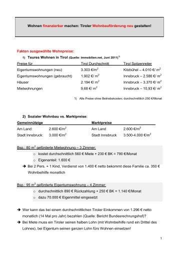 Wohnen finanzierbar machen: Tiroler ... - Liste Fritz