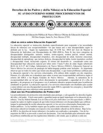 Derechos de los Padres y del/la Niño(a) en la Educación Especial