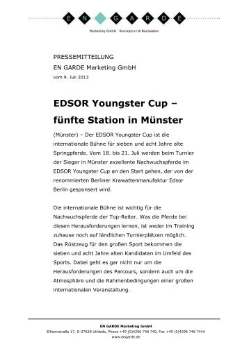 EDSOR Youngster Cup - Turnier der Sieger