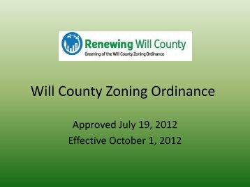Will County Zoning Ordinance - USGBC – Illinois Chapter