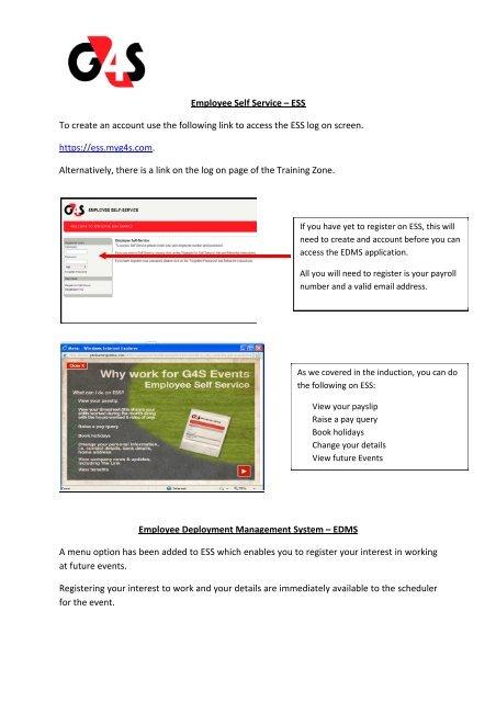 Employee Self Service – ESS - G4slearningonline.com - G4S