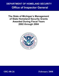 State of Michigan's management of State Homeland Security Grants ...
