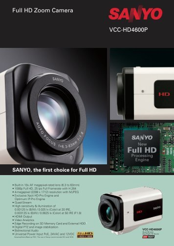SANYO, the first choice for Full HD