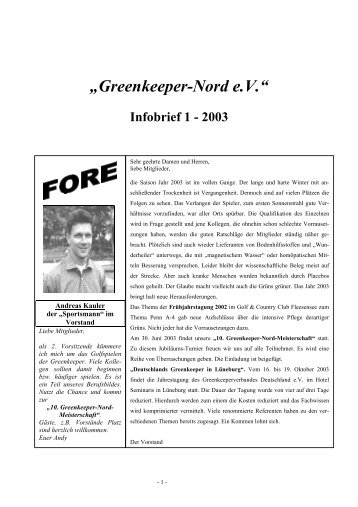 Infobrief 1-2003 der Greenkeeper Nord e.V.