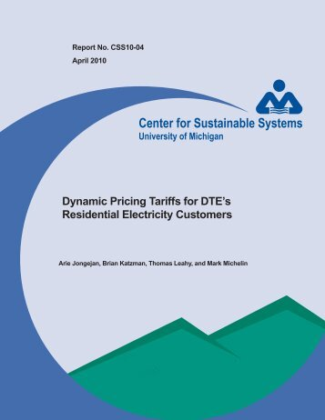 Dynamic Pricing Tariffs for DTE's Residential Electricity Customers