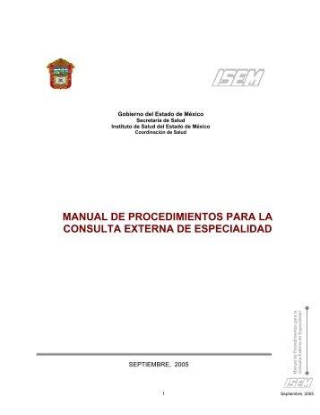 Manual de Procedimientos para la Consulta Externa de Especialidad