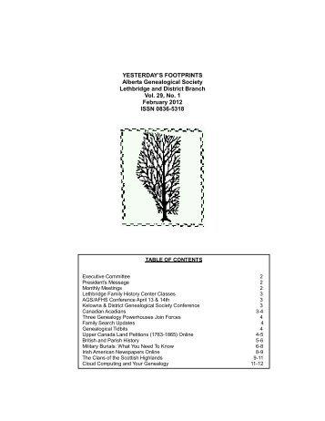 YESTERDAY'S FOOTPRINTS Alberta Genealogical Society ...
