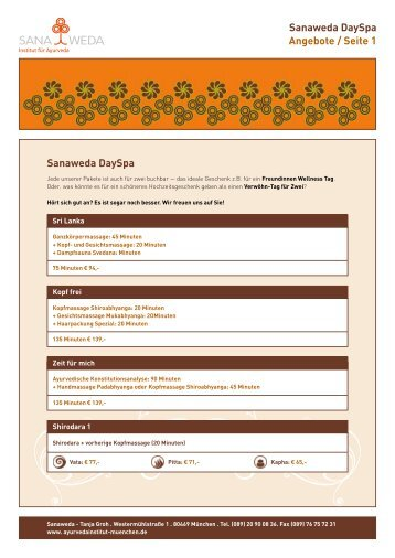 Sanaweda DaySpa Angebote / Seite 1 Sanaweda DaySpa