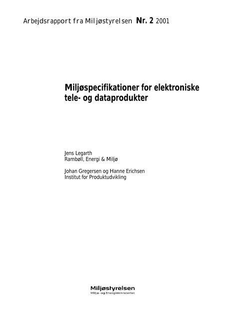 Miljøspecifikationer for elektroniske tele- og ... - Miljøstyrelsen
