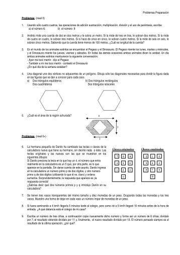 Problemas Preparación Problemas (nivel 0) 1. Usando sólo cuatro ...