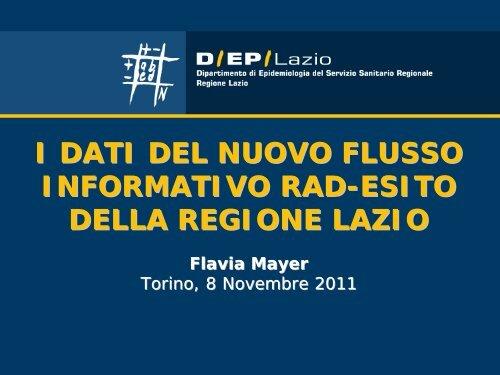 I dati del nuovo flusso informativo RAD-esito della Regione Lazio