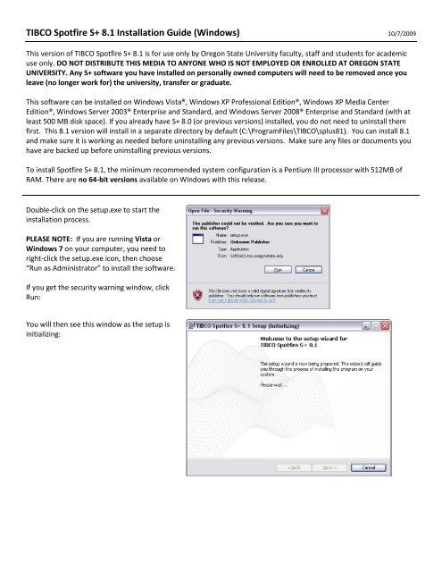 TIBCO Spotfire S+ 8 1 Installation Guide (Windows) - Oregon
