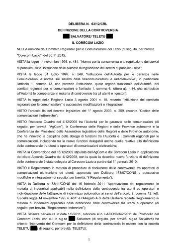 Delibera 63/12/CRL - Corecom Lazio