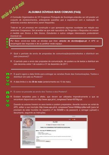 FAQ's - Associação Portuguesa de Sociologia