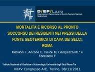 Mortalità e ricorso al Pronto Soccorso dei residenti nei pressi della ...