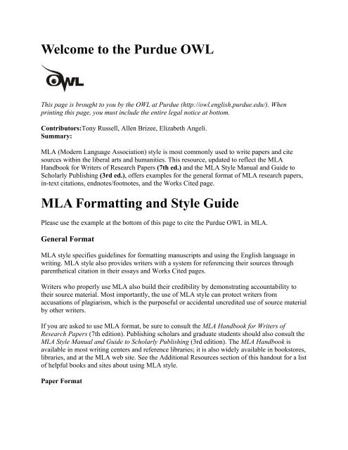 The Purdue OWL MLA Formatting And Style Guide