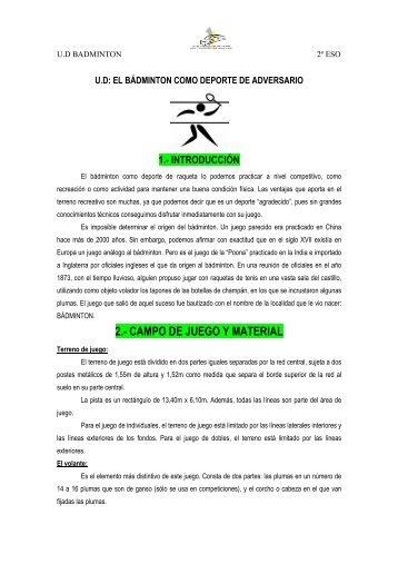 2.- CAMPO DE JUEGO Y MATERIAL