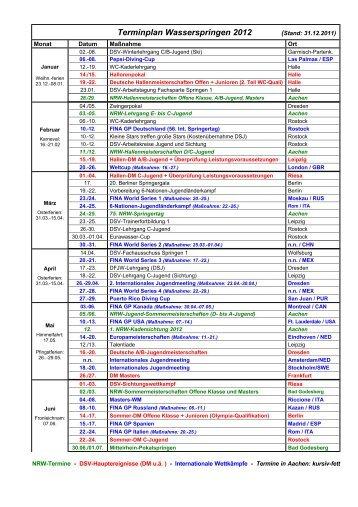 Terminplan Wasserspringen 2012