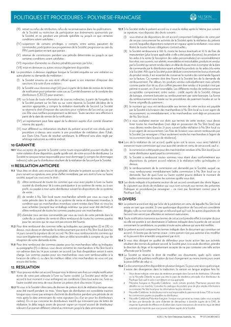 Politiques et Procedures - Polynesie-Francaise - Nu Skin