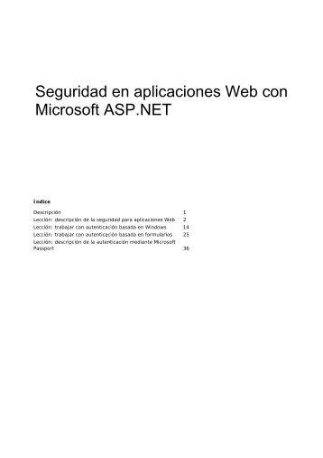 Seguridad en aplicaciones Web con Microsoft ASP.NET - Willy .Net