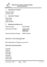 Übersicht der aktuell laufenden Studien des Brustzentrums 1 ...