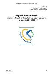 Program restrukturyzacji wojewódzkich jednostek ochrony zdrowia ...