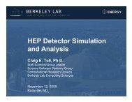 HEP Detector Simulation and Analysis - NERSC