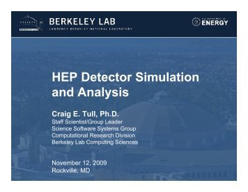 HEP Detector Simulation and Analysis - NERSC
