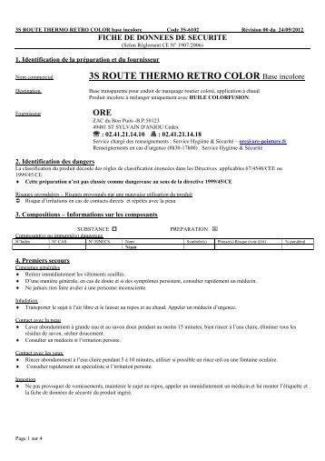 3s route thermo retro color - 3S signalisation produits de marquage ...