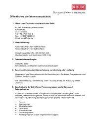 Öffentliches Verfahrensverzeichnis - ROLEC Gehäuse-Systeme GmbH