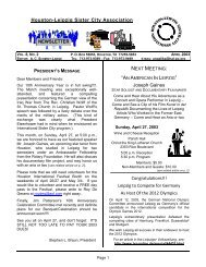 April - Houston-Leipzig Sister City Association