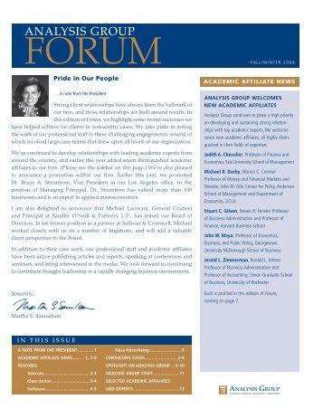 Forum Newsletter, Fall/Winter 2004 - Analysis Group
