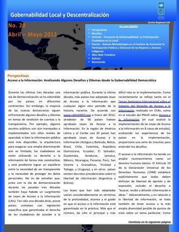 Número 20 - Abril - Mayo 2012 - Regionalcentrelac-undp.org