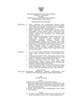 peraturan pemerintah republik indonesia nomor 22 tahun 2004 ...